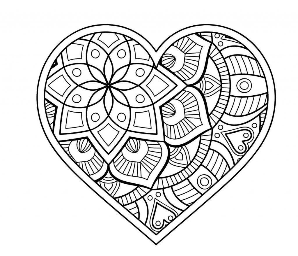 Malvorlagen Mandala  Malvorlage Herz Mandala Pinterest