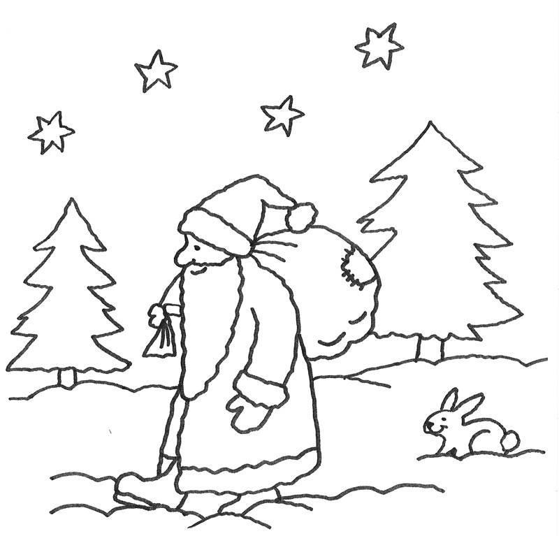 Malvorlagen Nikolaus  Kostenlose Malvorlage Advent Nikolaus im Wald zum Ausmalen