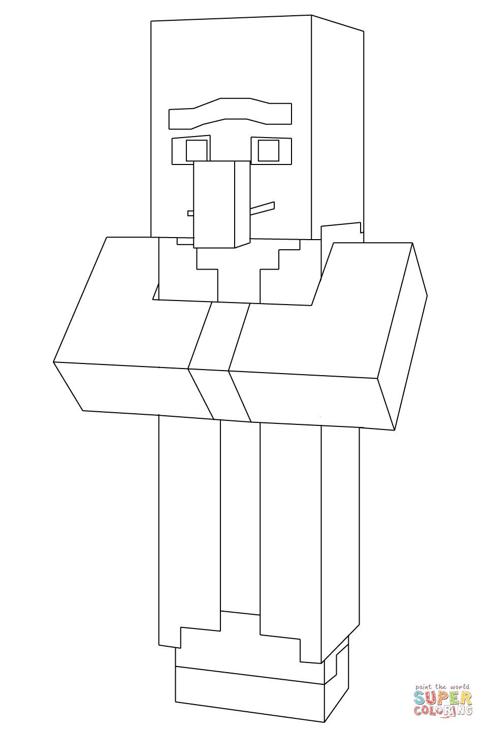 Minecraft Malvorlagen  Minecraft Villager coloring page