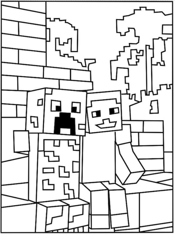 Minecraft Malvorlagen  Ausmalbilder Minecraft Creeper und Steve 1078 Malvorlage