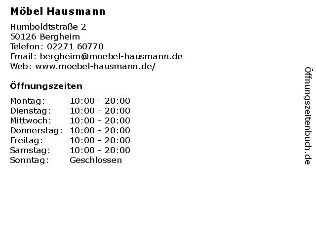 Möbel Hausmann Bergheim  Öffnungszeiten Möbel Hausmann