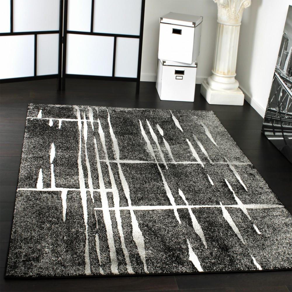 Moderne Teppiche  Designer Teppich Modern Trendiger Kurzflor Teppich in Grau