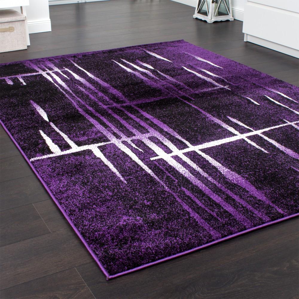 Moderne Teppiche  Designer Teppich Modern Trendiger Kurzflor Teppich in Lila