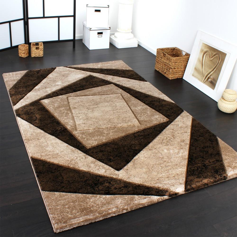 Moderne Teppiche  Edler Designer Teppich mit Konturenschnitt Karo in Braun