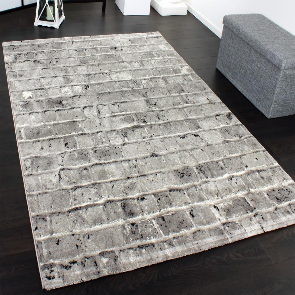 Moderne Teppiche  Edler Designer Teppich mit Steinwand Optik in Grau Schwarz