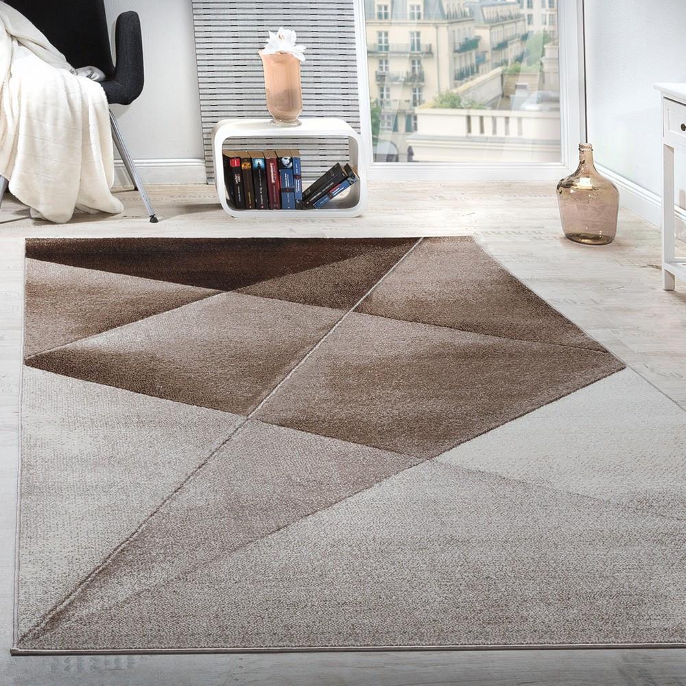 Moderne Teppiche  Teppich Geometrische Muster Braun Design Teppiche