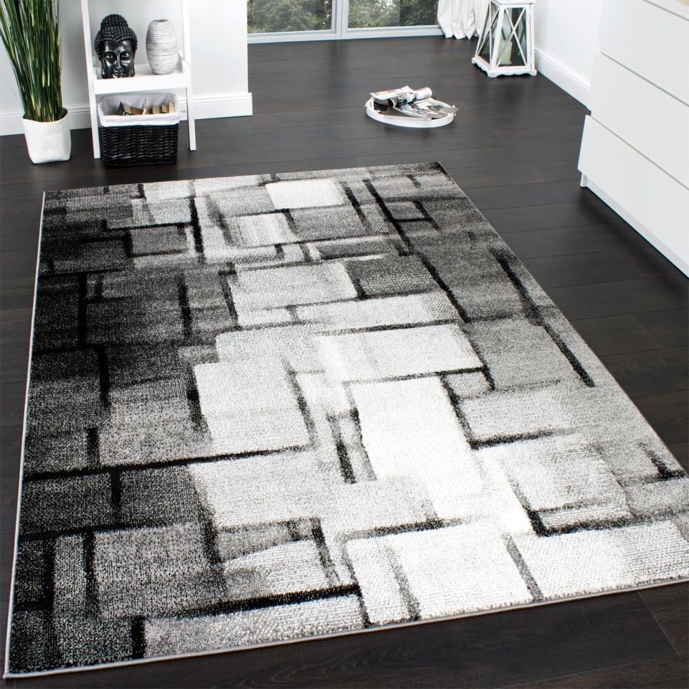 Moderne Teppiche  Designer Teppich Modern Trendiger Kurzflor Teppich Karo