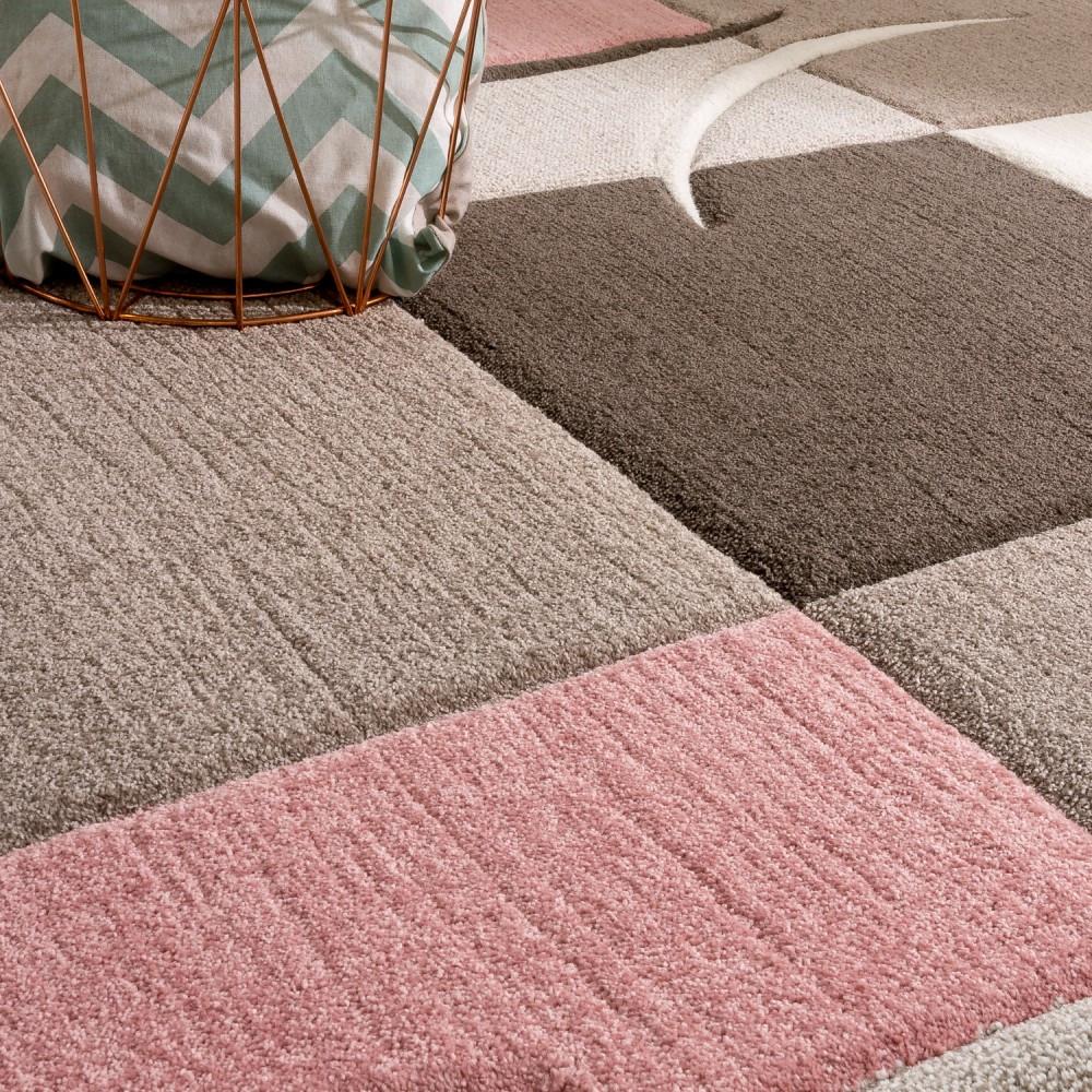 Moderne Teppiche  Designer Teppich Modern Konturenschnitt Pastellfarben Mit
