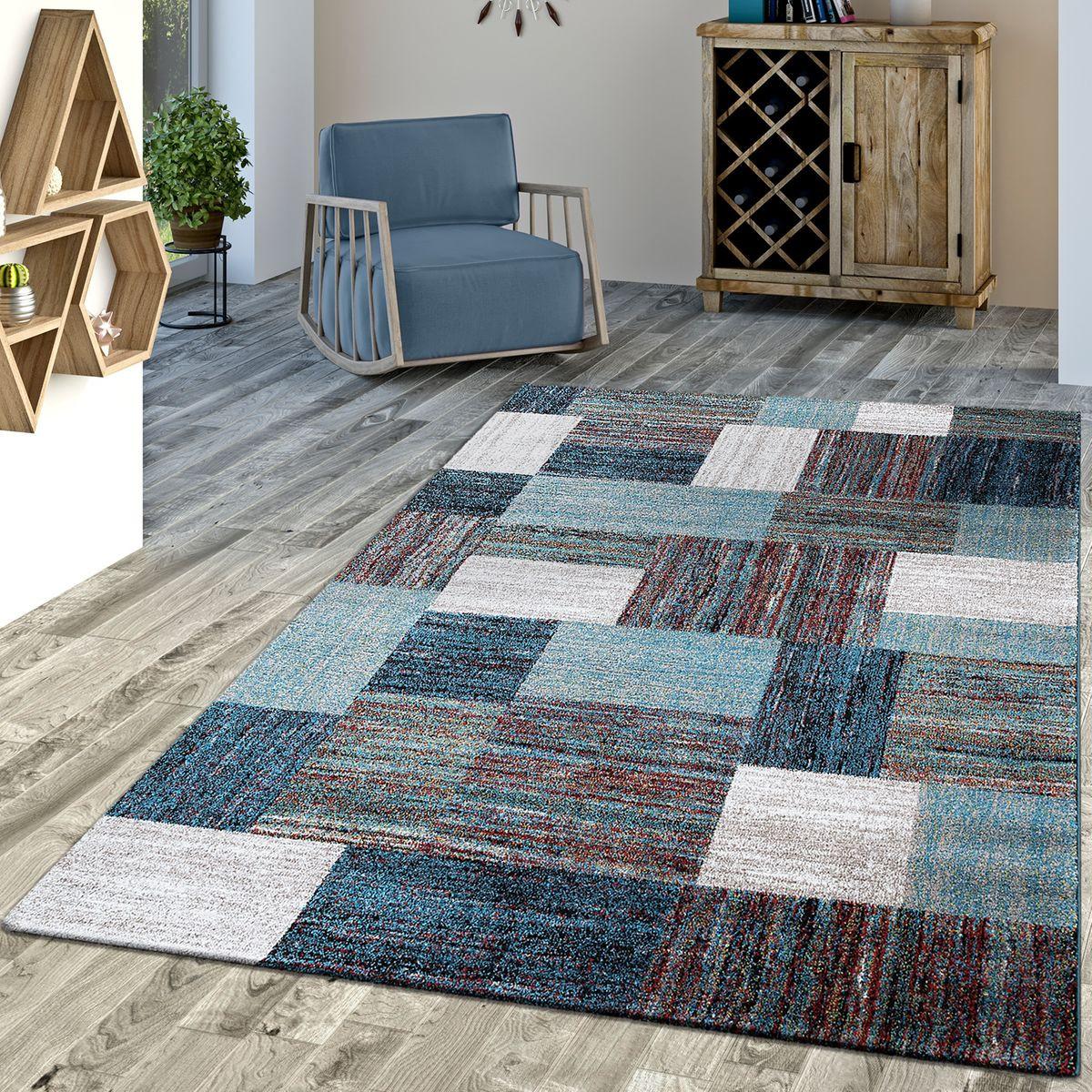 Moderne Teppiche  Designer Teppich Blau Meliert Kurzflor Modern Kurzflor