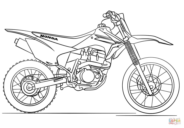 Motocross Ausmalbilder  Ausmalbild Honda Motocross Motorrad