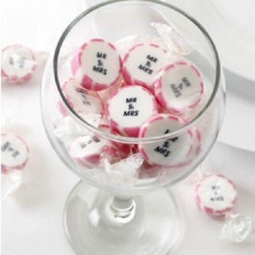 Mr & Mrs Hochzeit  wedding Mr & Mrs pink candy buffet rock wrapped sweets x