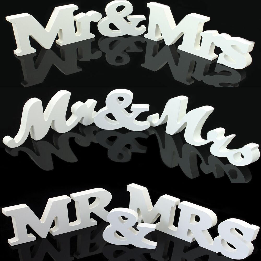 Mr & Mrs Hochzeit  Mr & Mrs Buchstaben Hochzeit aus Holz stehend Dekoration
