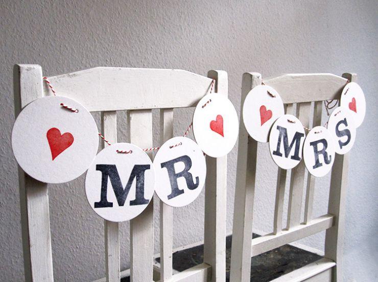 Mr & Mrs Hochzeit  StuhlDeko MR & MRS Girlanden zur Hochzeit