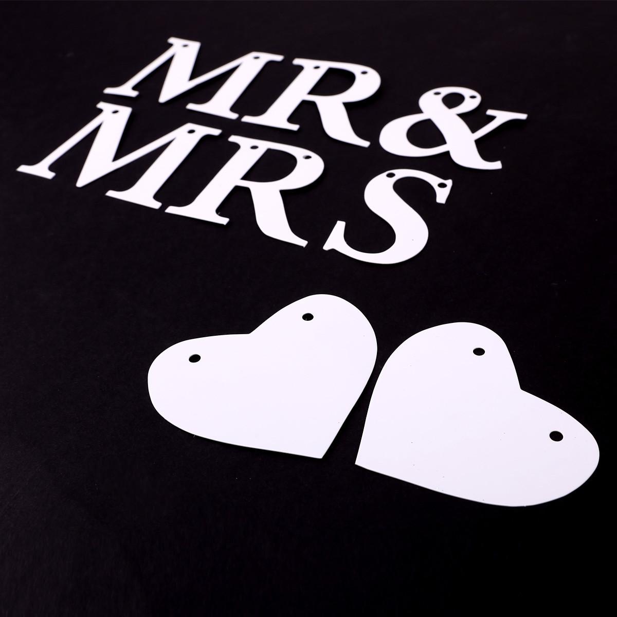 Mr & Mrs Hochzeit  weiß Wimpelketten Hochzeit Dekoration Türschild Mr & Mrs
