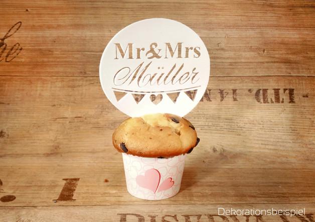 Mr & Mrs Hochzeit  MR&MRS 4Tortenaufleger Backdeko Esspapier HOCHZEIT