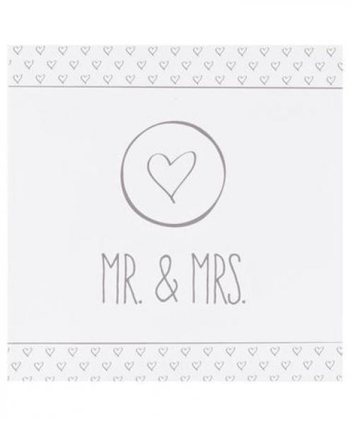 Mr & Mrs Hochzeit  Servietten Hochzeit Herz Mr & Mrs ca 33 x 33 cm
