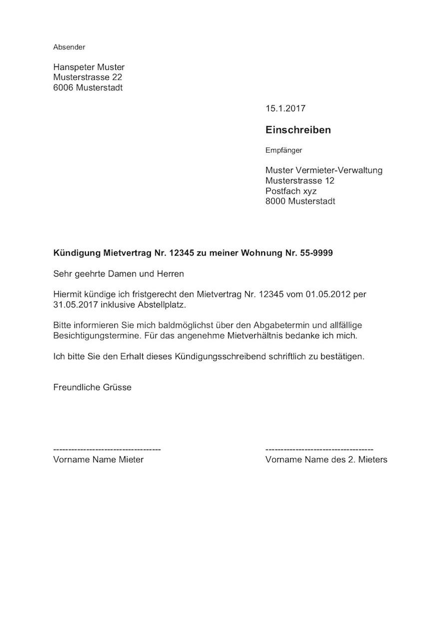 Muster Kündigung Wohnung  Kündigung Wohnung Mietvertrag Vorlage