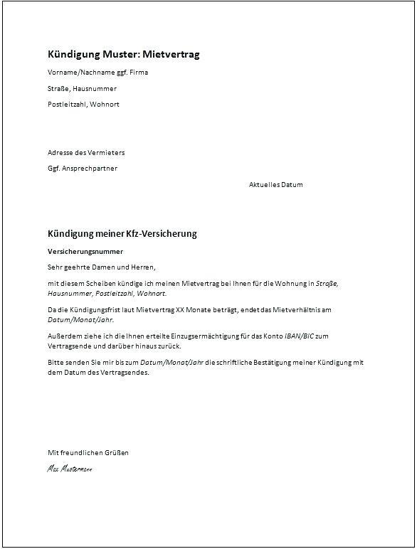 Muster Kündigung Wohnung  12 vorlage formloser antrag