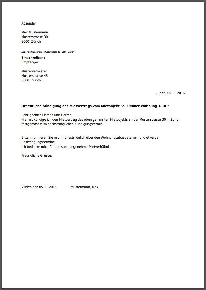Muster Kündigung Wohnung  kündigung mietvertrag musterbrief
