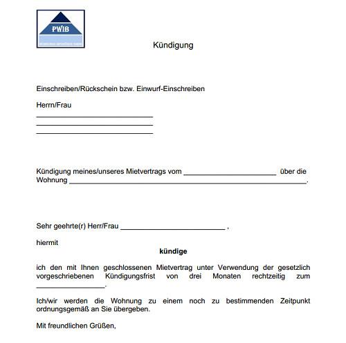 Muster Kündigung Wohnung  Vorlage kündigung mietvertrag Dokument Blogs