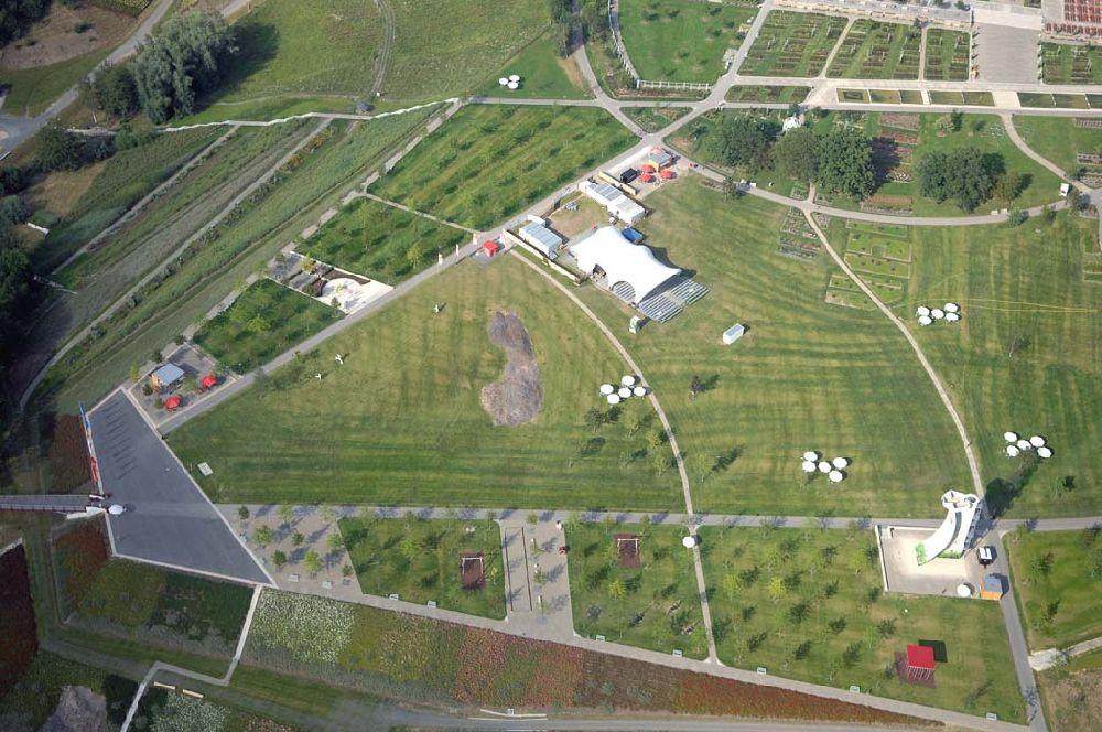 Neue Landschaft Ronneburg  Ronneburg aus der Vogelperspektive BUGA Gelände Neue
