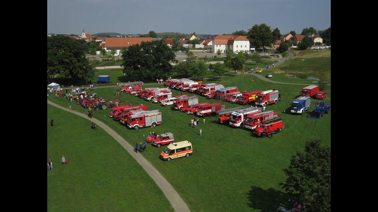 Neue Landschaft Ronneburg  [150 Jahre Feuerwehr Ronneburg] Eintreffen der Fahrzeuge