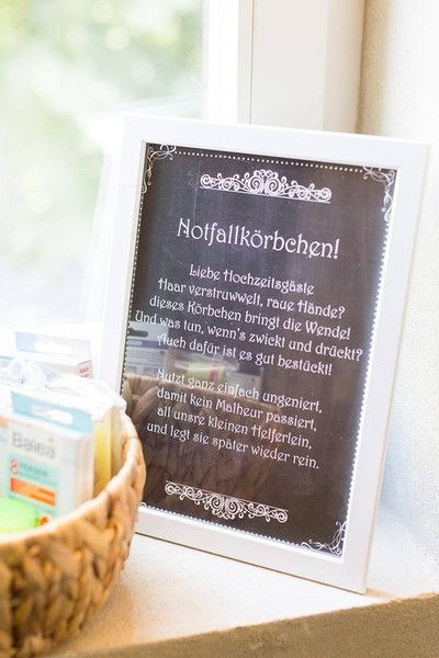 """Notfallkörbchen Hochzeit Spruch  Gastgeschenke PDF Datei """"Notfallkörbchen"""" chalkboard"""