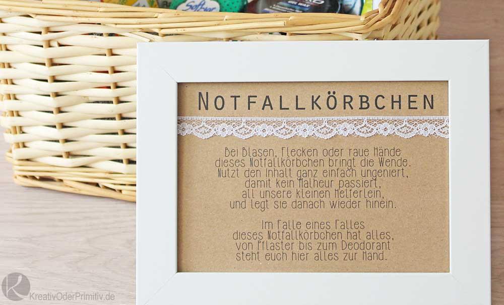 Notfallkörbchen Hochzeit Spruch  Kreativ oder Primitiv Notfallkörbchen zur Hochzeit