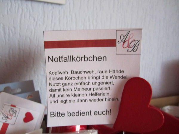 Notfallkörbchen Hochzeit Spruch  Nofallkorb Für Die Damen Fertig