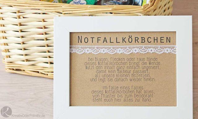 Notfallkörbchen Hochzeit Text  Notfallkörben Inhalt DIY Toilette Hochzeit Gastgeschenk