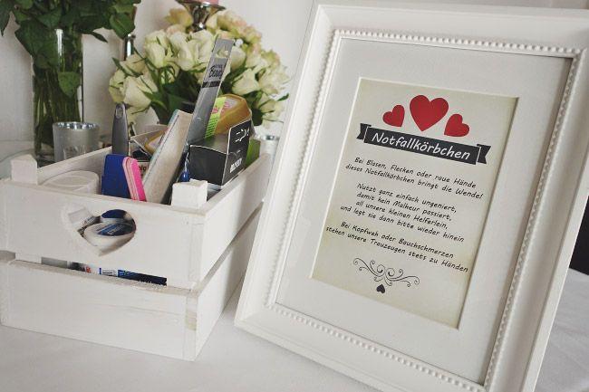 Notfallkörbchen Hochzeit Text  Das Notfallkörbchen für Hochzeitsgäste Bild 1