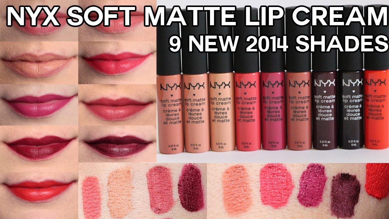 Nyx Soft Matte Lip Cream Swatches  NEW NYX Soft Matte Lip Creams for 2014 Swatches & Review