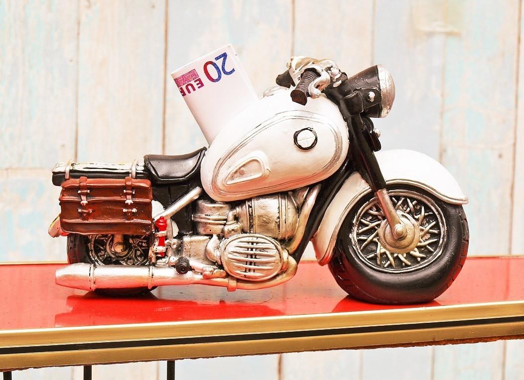 Originelle Geschenkideen  Spardose Motorrad weiß geschenkideen 24