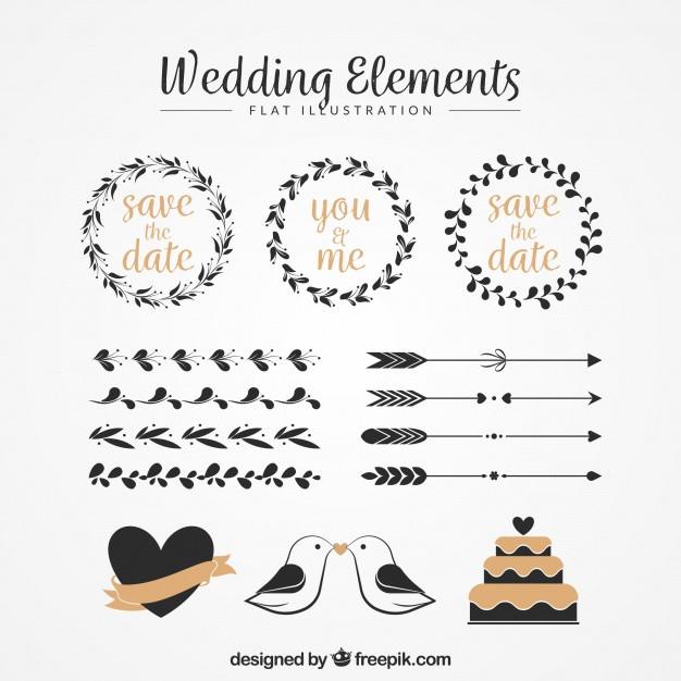 Ornamente Hochzeit  Packung von Blumenkränzen und anderen Vintage Hochzeit
