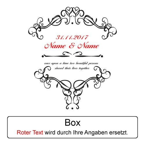 Ornamente Hochzeit  4 tlg Sekt Geschenkset ROT zur Hochzeit inkl Gravur