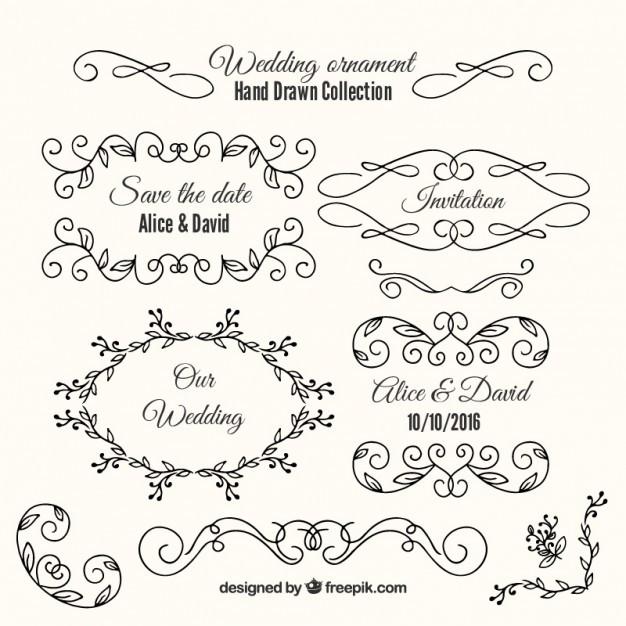 Ornamente Hochzeit  Vielzahl von Hand gezeichnet Hochzeit Ornamente und Rahmen