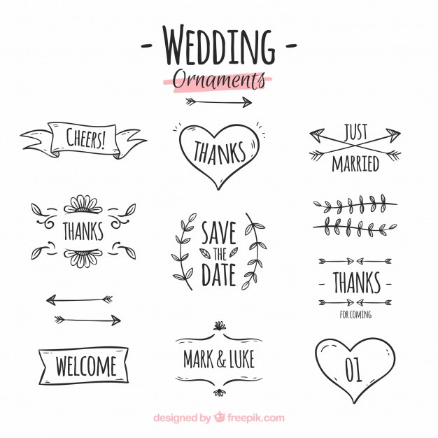 Ornamente Vorlagen Kostenlos Hochzeit  Hand gezeichnete hochzeit ornament sammlung