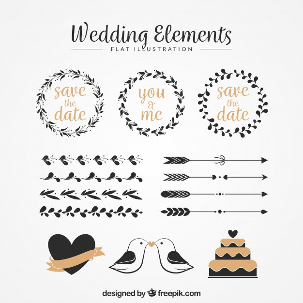 Ornamente Vorlagen Kostenlos Hochzeit  Packung von Blumenkränzen und anderen Vintage Hochzeit