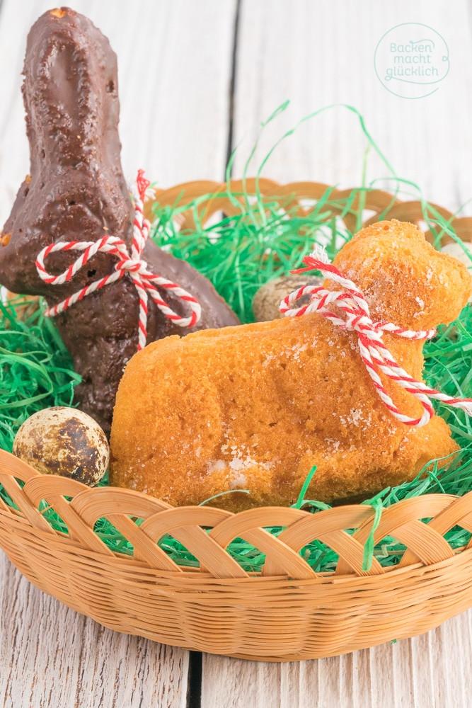 Osterlamm Kuchen  Osterlämmchen und Hasen aus Rührteig