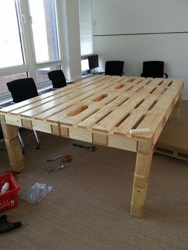 Paletten Tisch  Möbel aus Paletten selbst bauen
