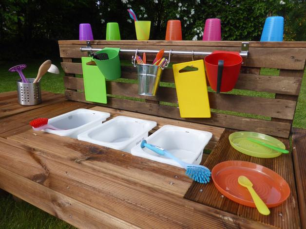 Palettenmöbel Garten  Palettenmöbel Kinderküche XL aus Holz für Garten mit 3