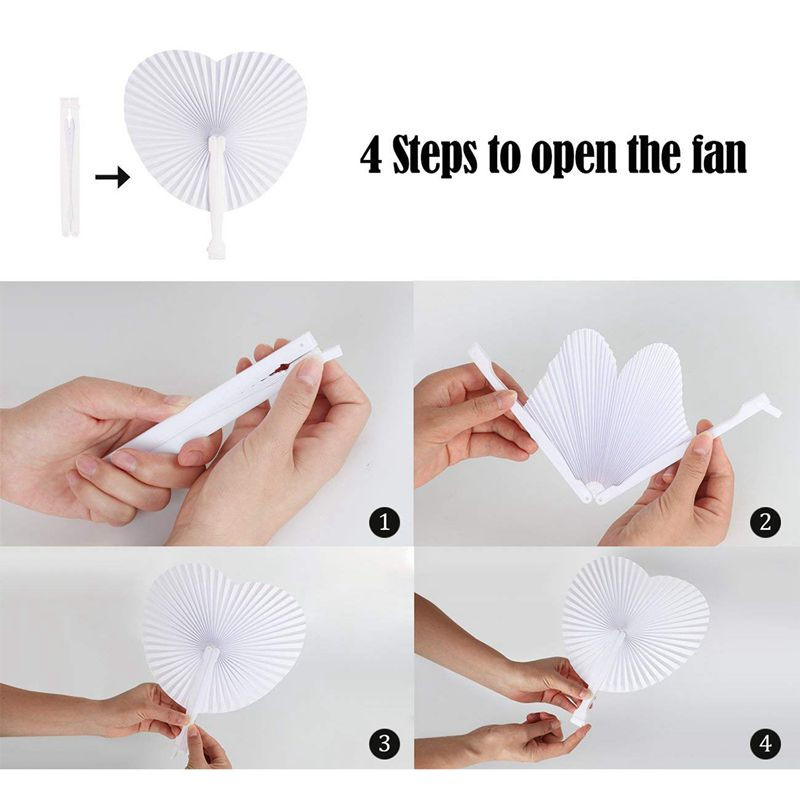 Papier Hochzeit  Handheld Fan Papier Herzfoermige Faltfaecher fuer Fans der
