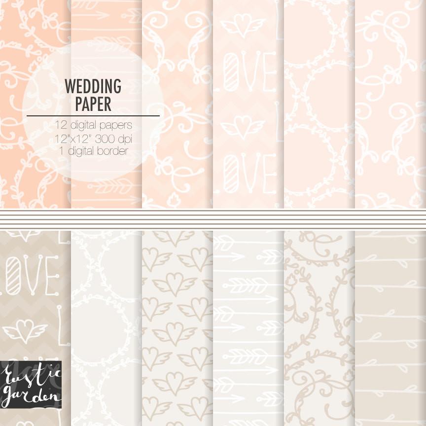 Papier Hochzeit  Digitales Papier Hochzeit Pfirsich rosa und sand Beige