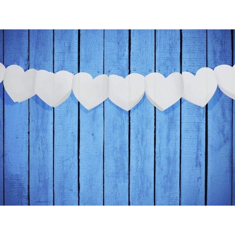 Papier Hochzeit  Herzgirlande weiß 3m Papier Hochzeit Valentinstag Girlande