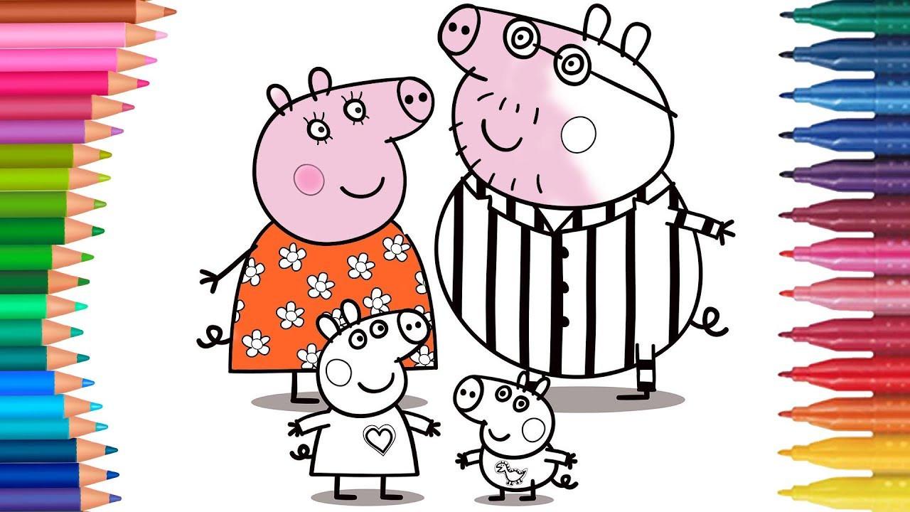 Peppa Pig Ausmalbilder  Famlia Porco Peppa Minhas Mãozinhas Livro de Colorir
