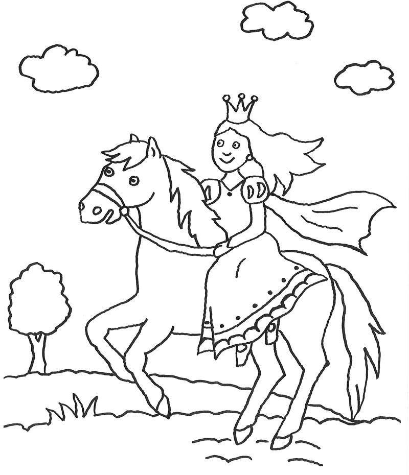 Pferde Ausmalbilder  Ausmalbilder Pferde Mit Prinzessin