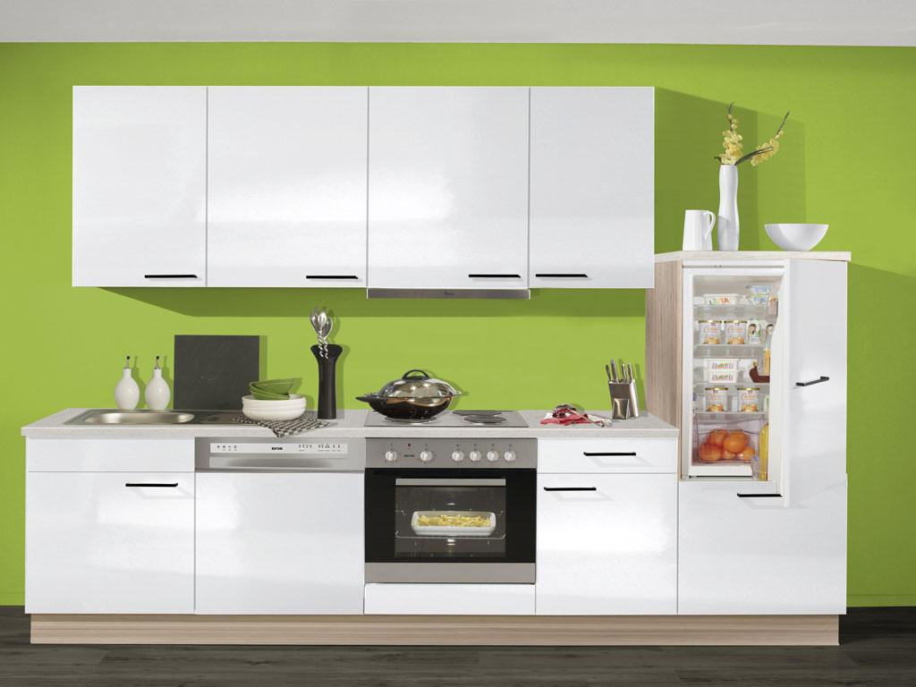 Pino Küchen  Pino Küche weiß glänzend mit Highbordschrank
