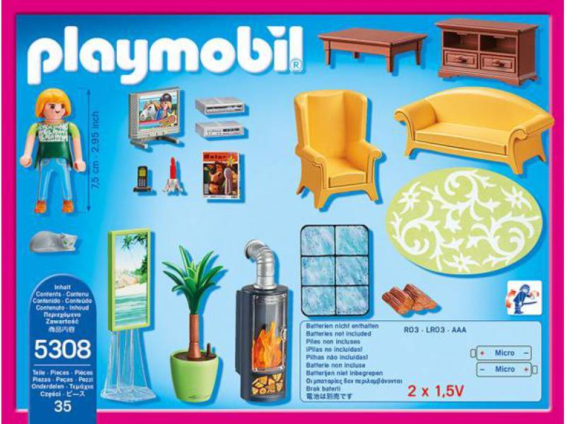 Playmobil Wohnzimmer  Wohnzimmer mit Kaminofen PLAYMOBIL Dollhouse