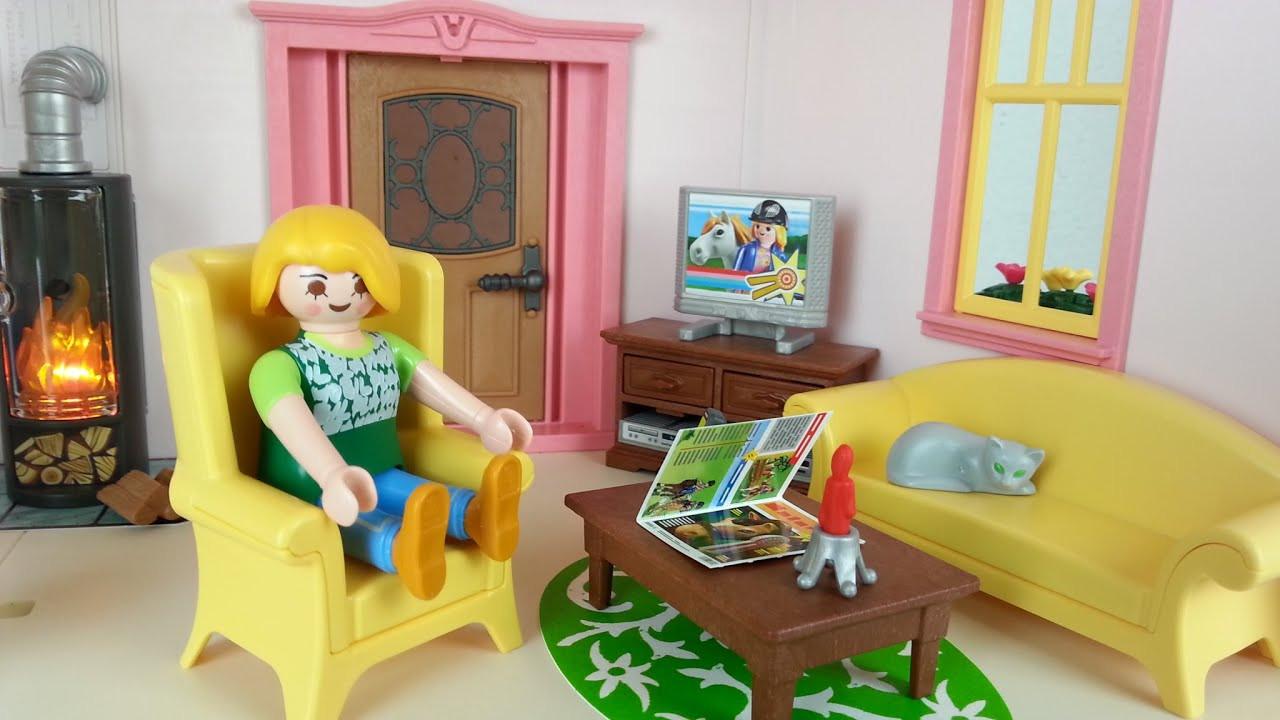 Playmobil Wohnzimmer  Wohnzimmer mit Kaminofen 5308 für Playmobil Puppenhaus