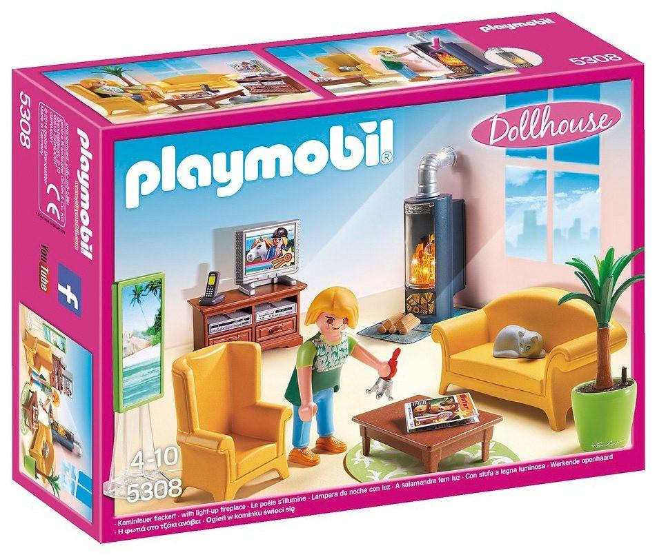 Playmobil Wohnzimmer  Playmobil Wohnzimmer mit Kaminofen 5308 Dollhouse